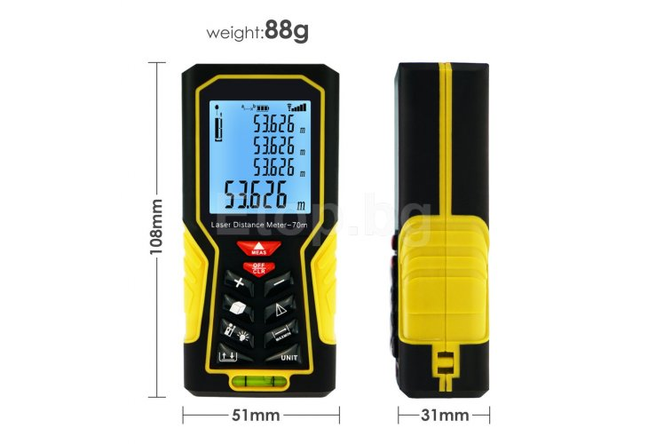 Digital Laser Distance Meter 70m (229ft) Handheld Range Finder Area & Volume Measuring Tools Meter Tester with Backlight and Spirit Bubble Level, ±1mm accuracy DIS-61 eTop