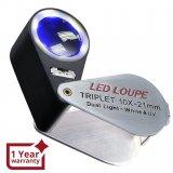 Бижутерска лупа с 10 кратно оптично увеличение с  LED и UV светлина