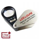 Бижутерска мини лупа с 20 кратно оптично увеличение с  LED и UV светлина