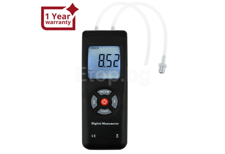 Professional Digital Manometer, Portable Handheld Air Vacuum/ Gas Pressure Gauge Meter 11 Units with Backlight, ±13.78kPa ±2PSI, Suitable for Differential Pressure of 1-2 Pipes, Ventilation, Air Condition System Measurement MAN-45 eTop
