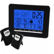 In/Out Temperature Wireless Weather Station DCF Radio Controlled Clock 2 Sensor S08S3318BL 2S eTop